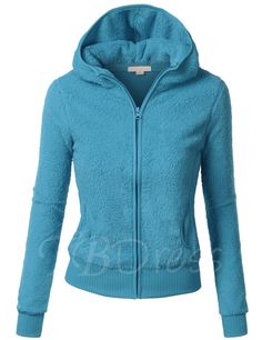 Simple Solid Color Long Sleeve Women's Hoodie
