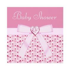 Beautiful personalized pink Wonderland flamingos Baby Shower invitations for girls, with a cute pink ribbon and bow and a lovely pink sparkle bling jewel heart. $1.90. Invites are easy to customize. Printed both sides. Good volume discounts.