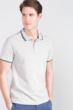 Cortefiel Short sleeve polo Gray