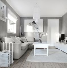 White, grey living room. Like this base color, I would add some color to this :)