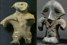 Dogu-Vinca But as they share common characteristics i would suggest they require a common explanation, for the forward sloping helmet with the artificial protective eye pieces, pronounced nose guard, entirely unattested in the archaeological record costume and accessories, these cannot be anthropomorphic figurines as critters don't wear such either