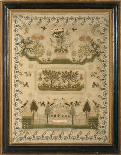 ENGLISH NEEDLEWORK SAMPLER WROUGHT BY CHARLOTTE BOYCE, 1822.