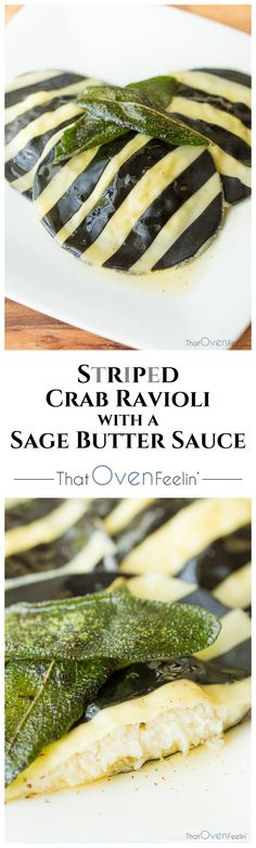 Striped Crab Ravioli with a Sage Butter Sauce