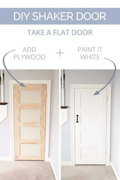 DIY Home Improvement On A Budget - DIY Shaker Door - Easy and Cheap Do It Yourself Tutorials for Updating and Renovating Your House - Home Decor Tips and Tricks, Remodeling and Decorating Hacks - DIY Projects and Crafts by DIY JOY http://diyjoy.com/diy-home-improvement-ideas-budget #cheaphomeimprovement #cheaphomeimprovements
