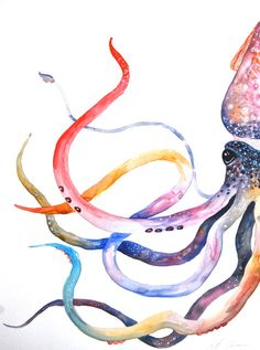 "Watercolor Painting, Original Painting, Squid Painting, 18""x24"""