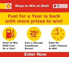 Enter to win FREE gas for a year from Shell plus over 1,300 other great prizes! Good luck!
