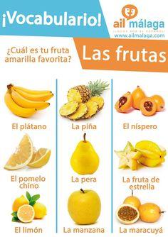 Spanish vocabulary about yellow themed fruits D LearnSpanish SpanishSchool SpanishVocab #