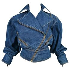 Alaia Denim Zipper Jacket 1986 | See more vintage Jackets at https://www.1stdibs.com/fashion/clothing/jackets in 1stdibs