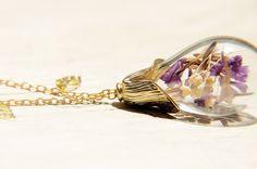 / 森林女孩 / 法式透明感玻璃球葉片項鍊 - 紫色+淡紫色情人草 - Coco&Banana | Pinkoi