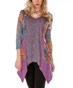 Another great find on #zulily! Purple & Blue Open-Knit Sidetail Tunic #zulilyfinds