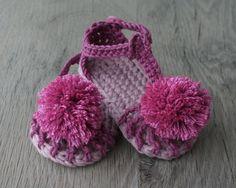 Sandalias de bebe nina de algodon talla 3-6 por atelierbagatela