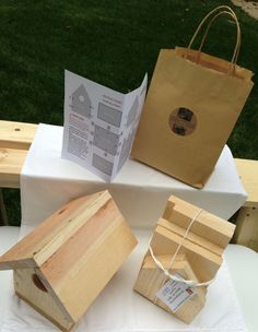 BIRDHOUSE KIT - Birdhouse gift bag; precision cut pieces. A child can build it. Great for Elderly family member. Birthday or Easter gift; by JVernonArt on Etsy https://www.etsy.com/listing/205174000/birdhouse-kit-birdhouse-gift-bag #birdhousekits #buildabirdhousekit