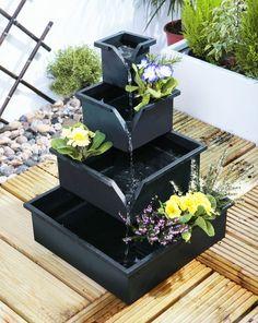 Wheaton Solar Planter Cascade Water Feature Fountain Outdoor Garden New in Home & Garden, Gardening, Décor, Furnishing | eBay