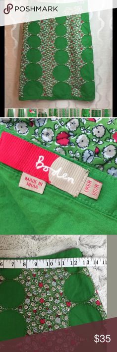 Boden Green Retro Mod floral A-Line skirt size 2R Size US 2R (Regular length) UK 6R , Country Chic Boden Skirts A-Line or Full