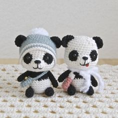 Cute tiny Panda Bears #amigurmi #crochet