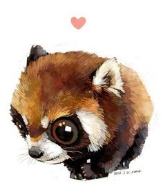 ANIMALS_watercolor [duitang]-red panda 01