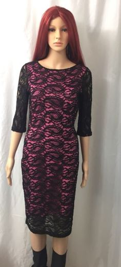 Black Lace Pink Stretch Linen 3/4 Sleeves Women's Dress Size 5/6 | eBay