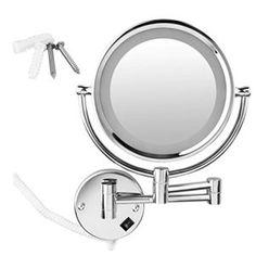 WMicro® LED Miroir à fixation murale chromé orientable équipé d'un éclairage LED ronde Ø 21.5 cm pour maquillage rasage, Double-face:…