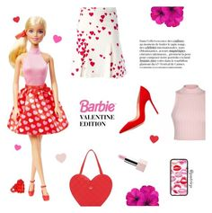 """Steal Barbie Valentine Edition's Style"" by putricp ❤ liked on Polyvore featuring Ally Fashion, Moschino, Kate Spade, Gianvito Rossi, Sephora Collection, women's clothing, women, female, woman and misses"