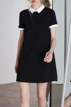 Bootyjeans Black Peter Pan Collar Preppy Style Dress   Mini Dresses at DEZZAL #minidresses