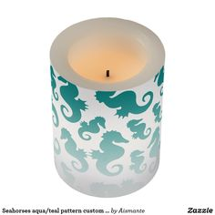 Seahorses aqua/teal pattern custom background flameless candle