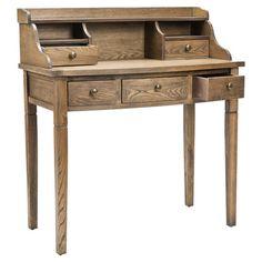5-drawer desk in medium oak. Product:  Desk    Construction Material: Elm wood    Color:  Medium...