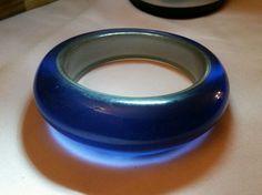 BRACELET COBALT BLUE GLASS? PLASTIC? GRADUATED BANGLE  #GraduatedCobaltBlue