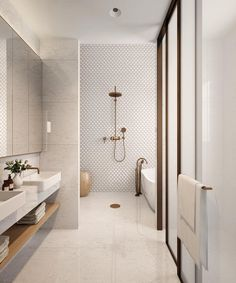 neutral bathroom bathroom, Great Minimalist Modern Bathroom Ideas - Home of Pondo - Home Design Contemporary Bathroom Designs, Bathroom Tile Designs, Bathroom Layout, Bathroom Interior Design, Small Bathroom, Bathroom Mirrors, Contemporary Bathrooms, Bathroom Cabinets, Dyi Bathroom