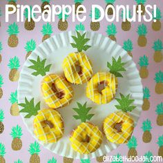 Pineapple Donut Toppers - Doughnut Party - Party Like A Pineapple - Birthday - First 1st - Bridal Shower - Pool Party - Aloha - Luau - Hawaii - Hawaiian - DIY