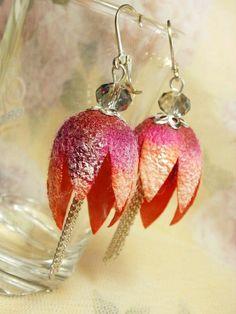 Natural silk cocoons, Silk Cocoon Earrings