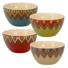 Signature Housewares 5-Inch Cheyenne Bowl, 20-Ounce, Multi-Colored, Set of 4