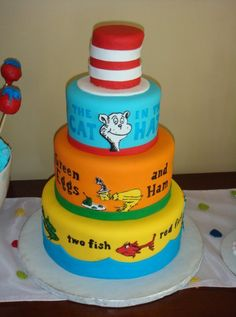 Dr Seuss Cake by Lacey of Lacey Cakes (on Facebook) {ok! For Kalee's cake, I'll do the big hat on top and then the cats head just like this. Then I'll add a big bow on the front where his bow usually is! It'll be great!}