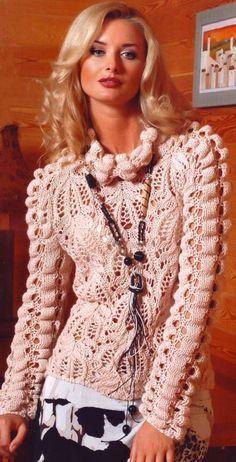 Элегантный пуловер с жатым узором