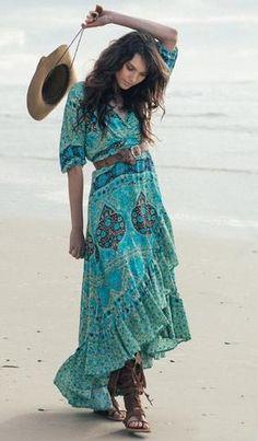 "Boho Maxi Dress ""Aloha Fox"" Wrap Front Ruffled Hem High Low Half Sleeves Turquoise Black Ivory ""Mermaid"" Print Includes Belt Small Medium Large Or Extra Large"
