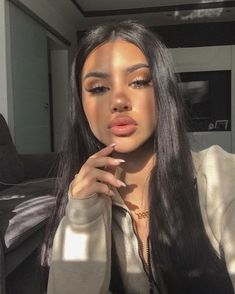 Uhair Malaysia Virgin Hair Straight 3 Bundles With Lace Frontal,Factory Direct Sale Human Hair Extensions Cute Makeup Looks, Pretty Makeup, Beauty Makeup, Hair Makeup, Hair Beauty, Eye Makeup, Insta Baddie Makeup, Insta Makeup, Look Kylie Jenner