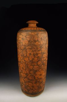 Jin Dynasty Cizhou Ware Persimmon Glaze Porcelain Plum Vase With Coiled Flower Pattern