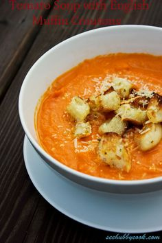 Tomato Soup with Croutons |  www.seehubbycook.com | #tomato #soup #autumn #recipe