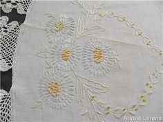 Vintage Round Tablecloth Hand Embroidered Crochet Lace