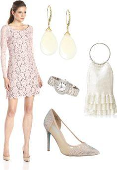 Blush Long-Sleeve Scoop-Neck Lace Sheath Dress