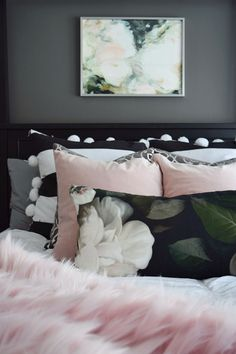 This lush pink throw from Home Goods totally glams up our bedroom! And the pom pillows were a must! Master Bedroom, Bedroom Decor, Bedroom Ideas, Bedroom Designs, Glam Bedroom, Bedroom Styles, Pink Throws, Living Room Shop, Spring Home