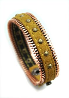 Stud Zip Leather Bracelet
