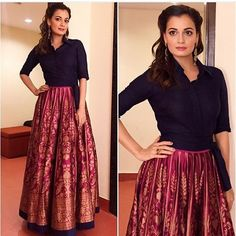 Brocade Skirt Ideas For Fall Banarasi skirt Party Wear Indian Dresses, Indian Gowns Dresses, Indian Fashion Dresses, Indian Designer Outfits, Indian Outfits, Pakistani Dresses, Long Skirt With Shirt, Long Skirt And Top, Long Shirt Dress