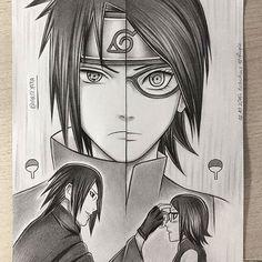 Sasuke and Sarada Uchiha Itachi Uchiha, Naruto E Sasuke, Shikamaru, Sakura And Sasuke, Anime Naruto, Anime Pokemon, Naruto Fan Art, Manga Anime, Naruto Drawings