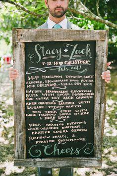 Wedding menu: http://www.stylemepretty.com/california-weddings/calistoga/2015/02/23/rustic-farm-to-table-napa-valley-wedding/   Photography: Onelove -  http://www.onelove-photo.com/