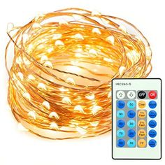33ft 100 LED String Lights Dimmable with Remote Control, ...