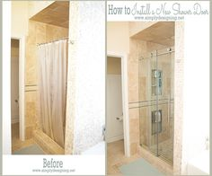 Not too long ago we finished tiling our bathroom shower. After all the hard work I knew we needed to choose a shower door that would compliment the space and no… Master Bathroom Shower, Diy Shower, Small Bathroom, Bathroom Ideas, Bathrooms, Cozy Bathroom, Bathroom Showers, Bathroom Art, Bathroom Cabinets