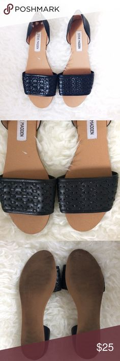 Steve Madden Flats • Sandals • black sandals with leather upper  • size 8 • I got these at Goodwill, so cute! But it looks like someone's dog chewed them at the back lol  they are cleaned and ready for wear • Questions? Just ask!  • Bundle to save • Use the offer button to negotiate   ❤︎ @sabineforever   Instagram & Pinterest  ❤︎ sabineforever.com for style, beauty, lifestyle and more fashion & accessories. ❤︎personal shopping & styling services available. Inquire for more information. Steve…
