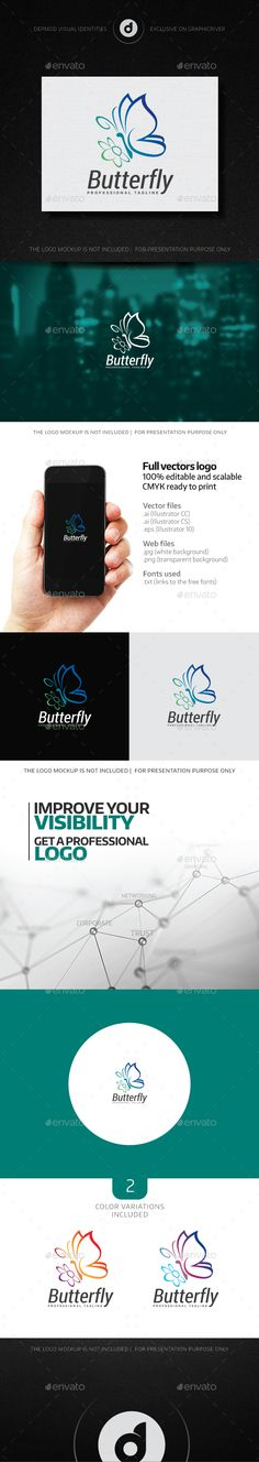 Butterfly Logo — Vector EPS #soft #nature • Available here → https://graphicriver.net/item/butterfly-logo/14041166?ref=pxcr