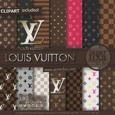 Louis Vuitton Digital Paper for Scrapbooking Party Printables Backgrounds