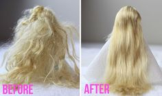 Lil Blue Boo Doll hair detangle tutorial before and after via lilblueboo.com  This is for Barbie, but Downy dunk is used on many AGs. I don't like all the residue it leaves but this suggests a way to get rid of that!